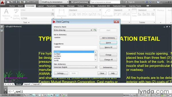 Correcting spelling errors: AutoCAD 2014 Essentials: 04 Annotating a Drawing