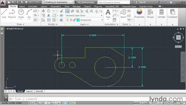 Creating general dimensions: AutoCAD 2014 Essentials: 04 Annotating a Drawing