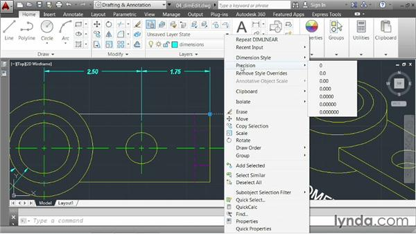 Modifying dimensions: AutoCAD 2014 Essentials: 04 Annotating a Drawing