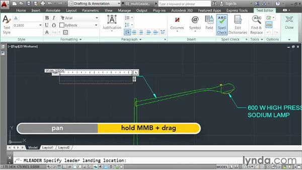 Creating multileaders: AutoCAD 2014 Essentials: 04 Annotating a Drawing