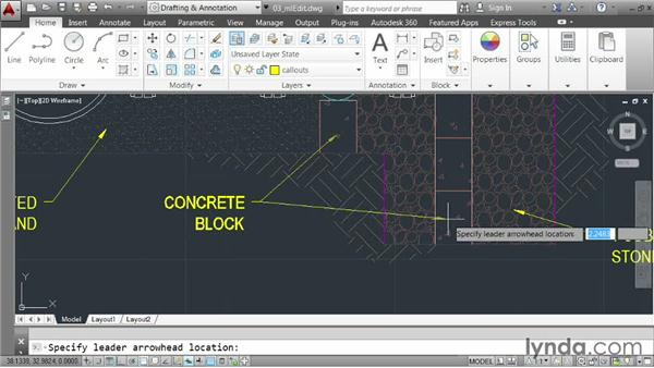 Modifying multileaders: AutoCAD 2014 Essentials: 04 Annotating a Drawing