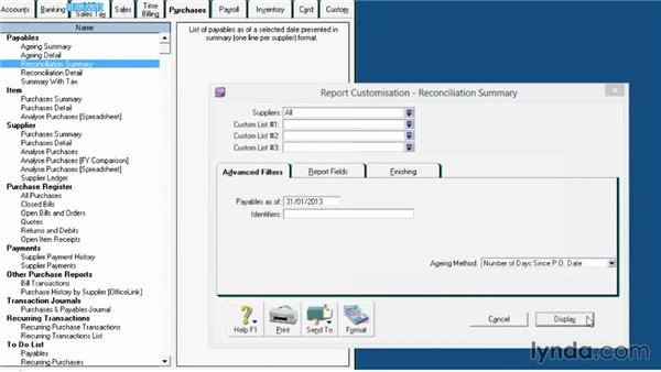 Aged payables reconciliation: MYOB AccountRight Reporting Necessities