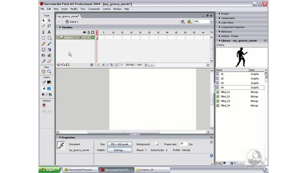 set up Fireworks art in Flash; trace and create symbols: Studio MX 2004 Web Workflow