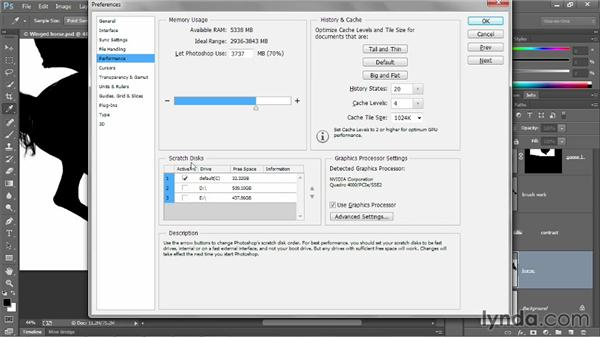 The interface and performance settings: Photoshop CC 2013 One-on-One: Advanced