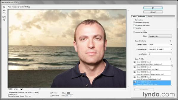 Correcting for lens distortion: Photoshop CC 2013 One-on-One: Advanced