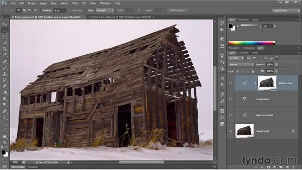 Selecting and darkening highlights: Photoshop CC 2013 One-on-One: Advanced