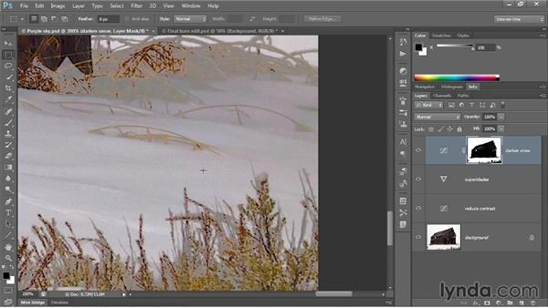 Neutralizing colors; smoothing transitions: Photoshop CC 2013 One-on-One: Advanced