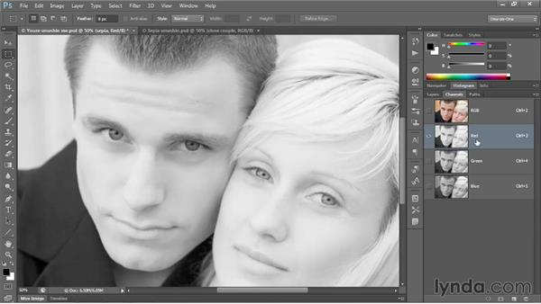 Creating a professional-quality sepia tone: Photoshop CC 2013 One-on-One: Advanced