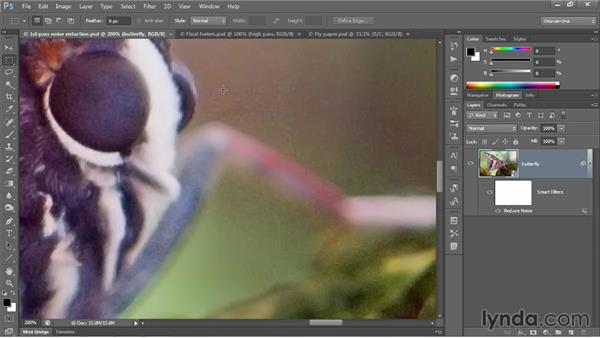 Smoothing over high-contrast noise: Photoshop CC 2013 One-on-One: Advanced