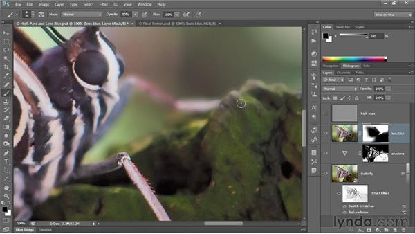 Masking blur and sharpen layers: Photoshop CC 2013 One-on-One: Advanced