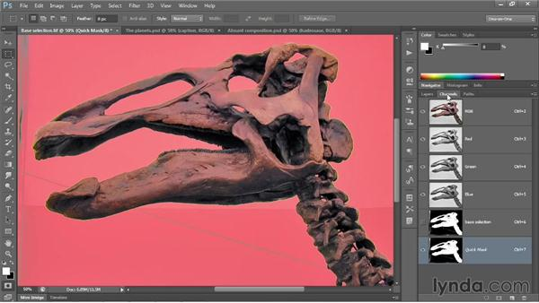 Refining a selection in the Quick Mask mode: Photoshop CC 2013 One-on-One: Advanced