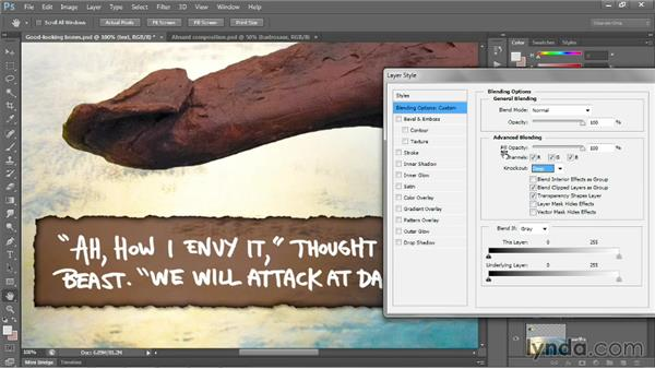 Turning a layer into a knockout: Photoshop CC 2013 One-on-One: Advanced