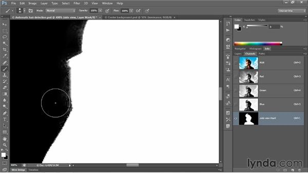 Perfecting a mask with overlay painting: Photoshop CC 2013 One-on-One: Advanced