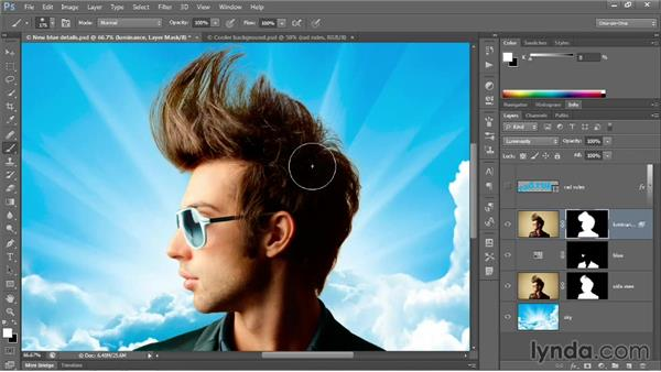 Bolstering and integrating hair: Photoshop CC 2013 One-on-One: Advanced