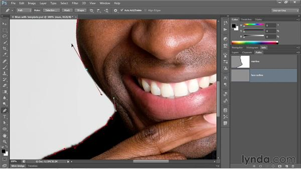 Cusp points and the Rubber Band option: Photoshop CC 2013 One-on-One: Advanced