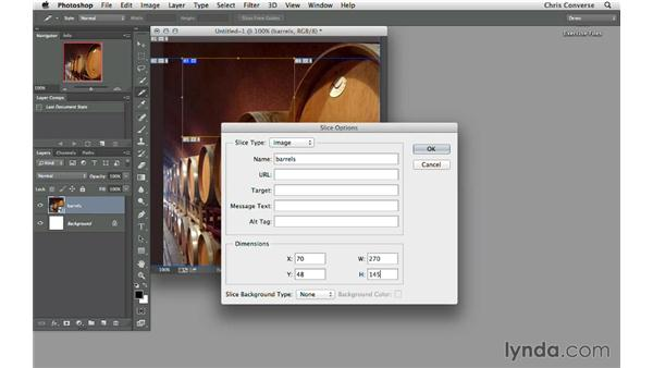 Using the Slice tool in Photoshop: Design the Web: Slice Tool