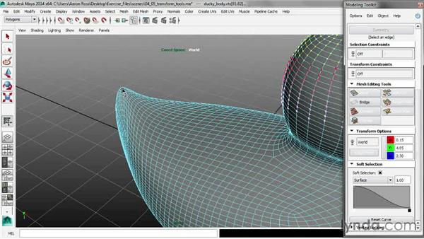 Using the Modeling Toolkit transform tools: Maya 2014 New Features