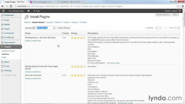 Installing and activating All In One SEO Pack: WordPress Plugins: SEO