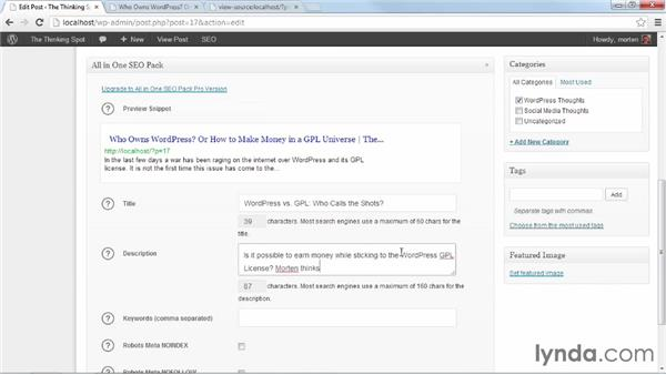 Adding SEO info for posts and pages: WordPress Plugins: SEO