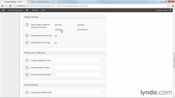 Configuring general settings: WordPress Plugins: SEO