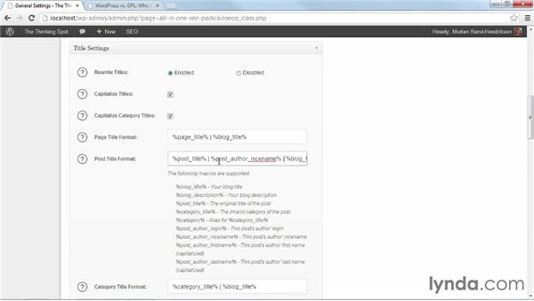 Configuring SEO for the whole site: WordPress Plugins: SEO (2013)