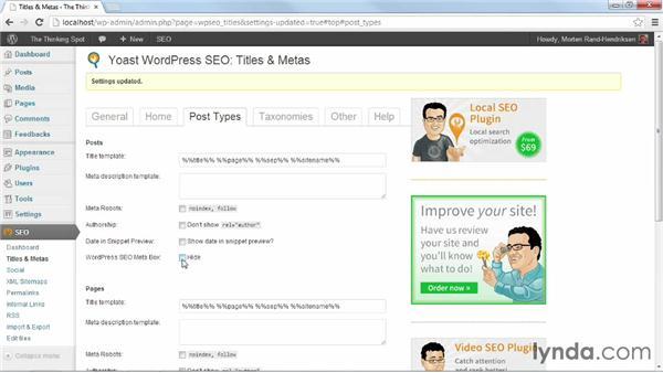 Configuring site-wide titles and meta descriptions: WordPress Plugins: SEO (2013)