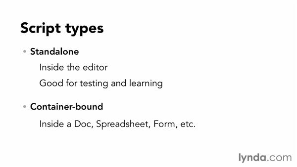 Understanding script types and permissions: Up and Running with Google Apps Script (2013)