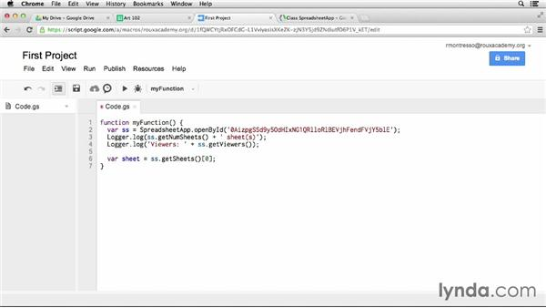 Reading information from a spreadsheet: Up and Running with Google Apps Script (2013)