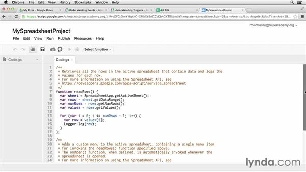 Using events and triggers in containers: Up and Running with Google Apps Script (2013)