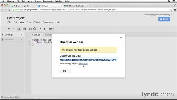 Sharing your script as a web app: Up and Running with Google Apps Script (2013)