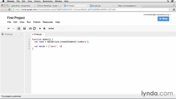Serving JSON or XML from your script: Up and Running with Google Apps Script (2013)