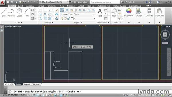 Inserting blocks: AutoCAD 2014 Essentials: 05 Working with References