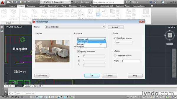 Inserting images: AutoCAD 2014 Essentials: 05 Working with References