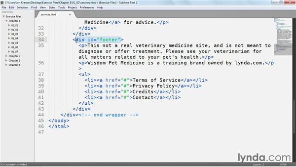Using HTML5 header, nav, and footer tags: Web Semantics