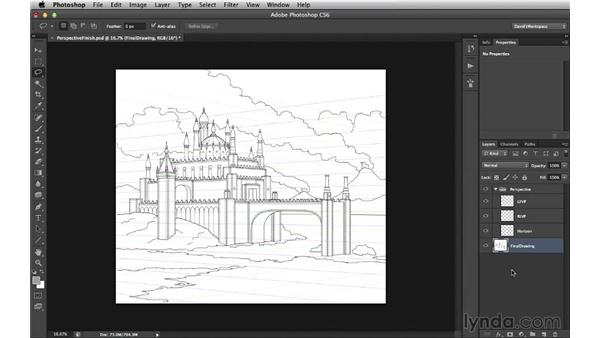 Prepping the perspective drawing for form: Digital Matte Painting Essentials 3: Tone