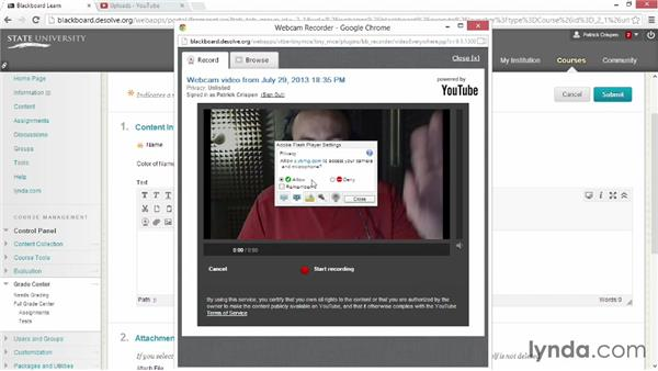 Recording webcam videos with Video Everywhere: Blackboard Essential Training