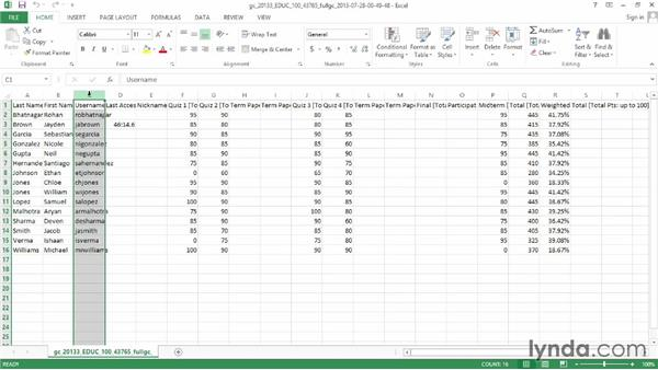 Downloading grades and editing in Excel: Blackboard Essential Training