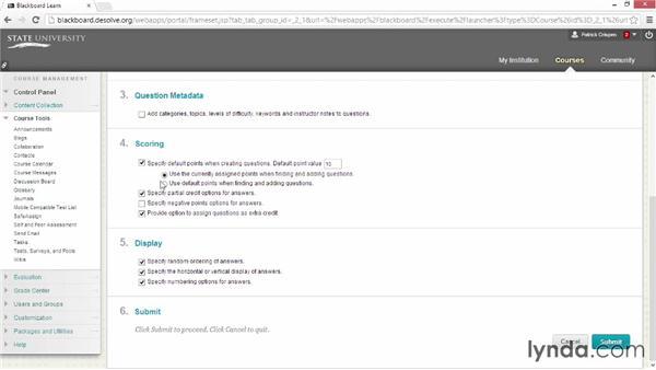 Choosing the question settings: Blackboard Essential Training