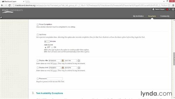 Setting test availability and deploying the test: Blackboard Essential Training