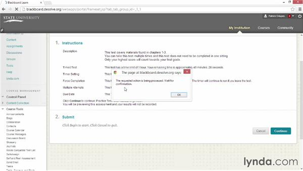 Assisting students with common testing obstacles: Blackboard Essential Training