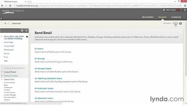 Sending emails: Blackboard Essential Training
