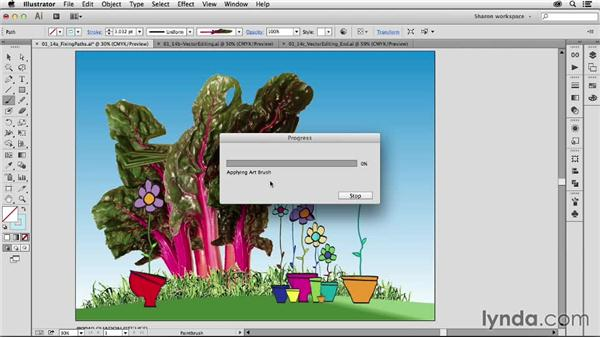 Fixing and modifying paths using vector editing tools: Artistic Painting with Illustrator: Object-Creation Brushes