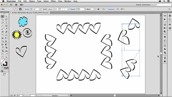 Making a new pattern brush in the Brushes panel: Artistic Painting with Illustrator: Object-Creation Brushes