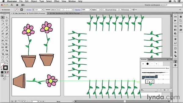 Customizing a pattern brush with start and end points: Artistic Painting with Illustrator: Object-Creation Brushes