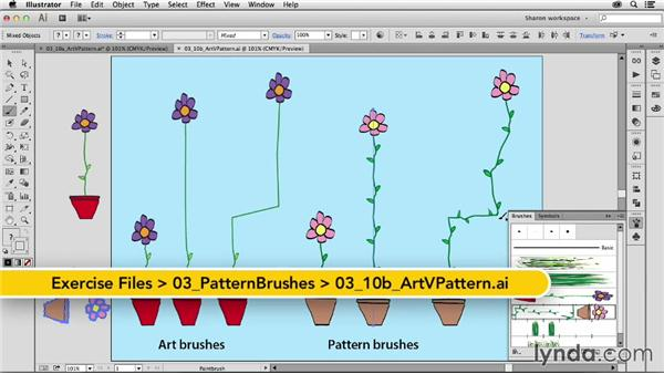 Comparing art brushes to pattern brushes with the same piece of art: Artistic Painting with Illustrator: Object-Creation Brushes