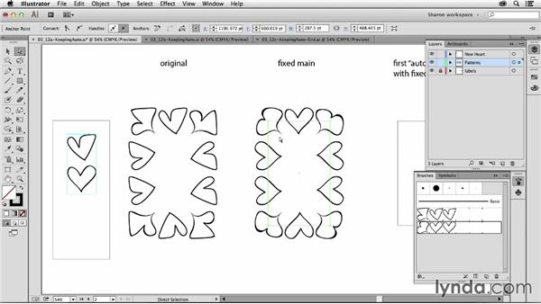 How to modify a pattern and keep the previous autocorner: Artistic Painting with Illustrator: Object-Creation Brushes