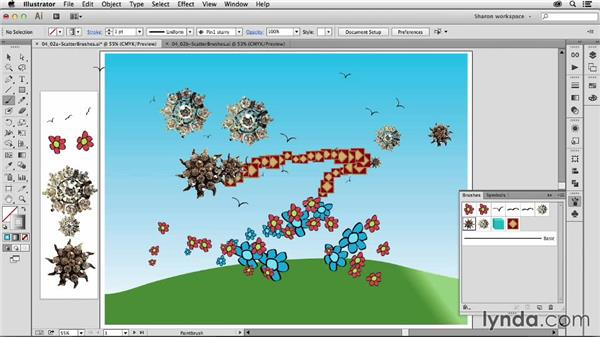 Using scatter brushes: Artistic Painting with Illustrator: Object-Creation Brushes