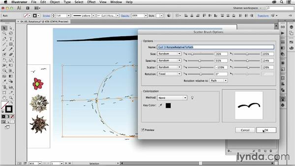 Understanding the Rotation Relative To parameter: Artistic Painting with Illustrator: Object-Creation Brushes