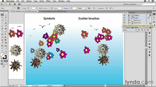 Comparing symbols to scatter brushes: Artistic Painting with Illustrator: Object-Creation Brushes