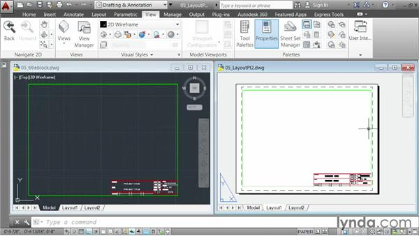 Creating a layout, part two: Inserting a title block: AutoCAD 2014 Essentials: 06 Sharing Drawings with Others